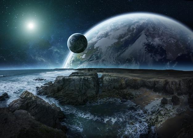Ansicht des entfernten planetensystems von den wiedergabeelementen der klippen 3d dieses bildes geliefert von der nasa