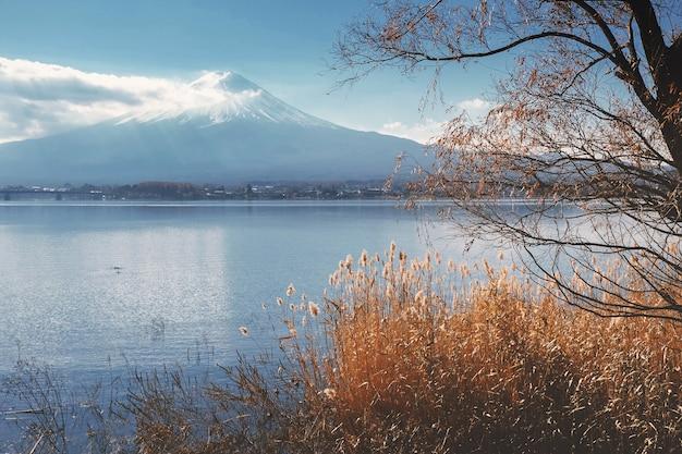 Ansicht des fujis um den kawaguchi see im herbst mit retrostileffekt