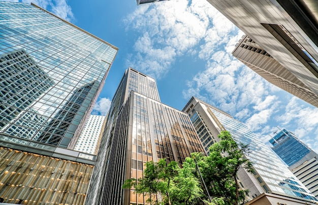 Ansicht des geschäftsgebäudes in central hong kong