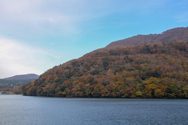 Ansicht des landschaftsberges und des wald-chang-farbblattes am see ashi in der herbstsaison japan