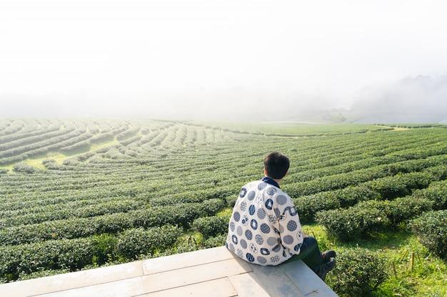 Ansicht des mannes sitzend auf dem holzfußboden, der morgens feinsten teebauernhof mit weißem nebel ansieht