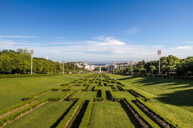 Ansicht des parks eduardo vii in lissabon, portugal.
