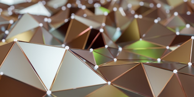 Ansicht einer abstrakten verbindungsstruktur mit verbindungspunkten und linien, wiedergabe 3d