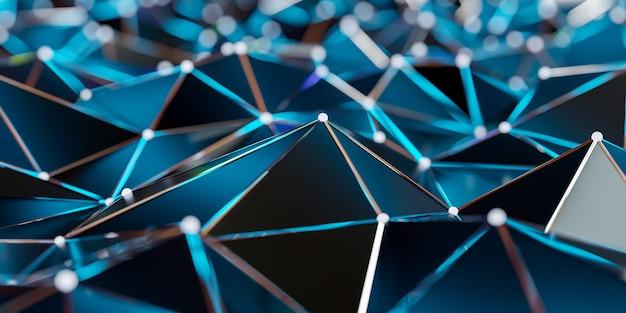 Ansicht einer abstrakten verbindungsstruktur mit verbindungspunkten und linien - wiedergabe 3d