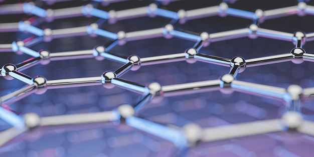 Ansicht einer graphen-molekül-nanotechnologie-struktur in purpurrosa