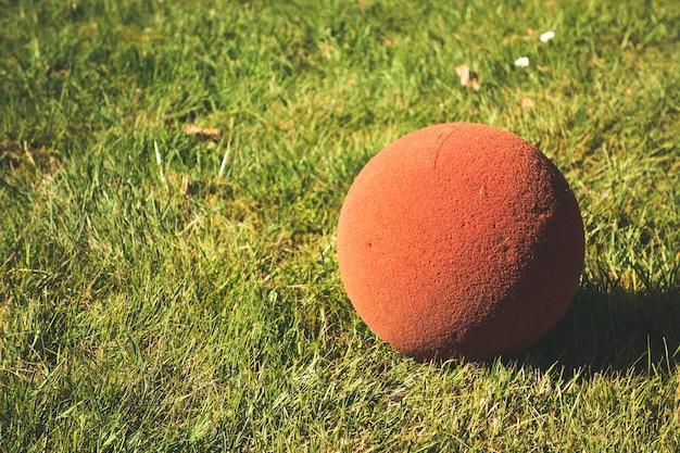 Ansicht einer kleinen roten kugel auf dem boden in einem feld, das an einem sonnigen tag gefangen genommen wird