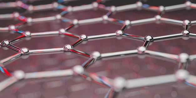 Ansicht einer molekularen nanotechnologiestruktur aus graphen auf ing