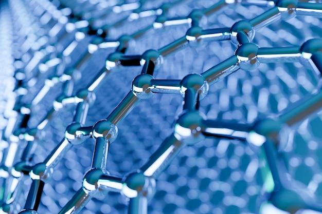 Ansicht einer molekularen nanotechnologiestruktur des graphens auf blau