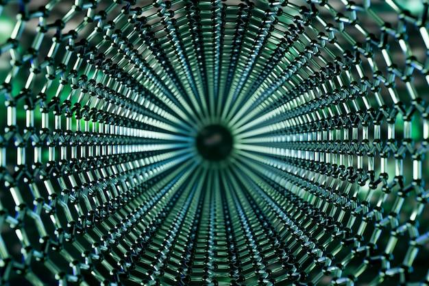 Ansicht einer molekularen nanotechnologiestruktur des graphens auf einem grünen hintergrund, wiedergabe 3d