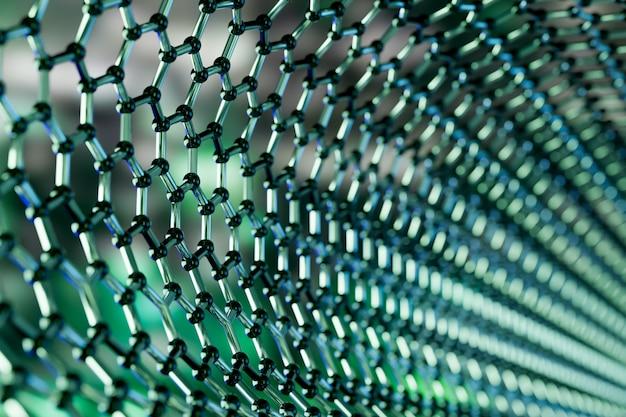 Ansicht einer molekularen nanotechnologiestruktur des graphens auf einem grünen hintergrund - wiedergabe 3d