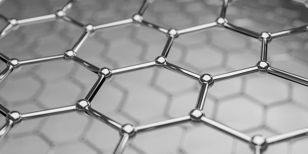 Ansicht einer molekularen nanotechnologiestruktur des graphens auf einem hintergrund - wiedergabe 3d