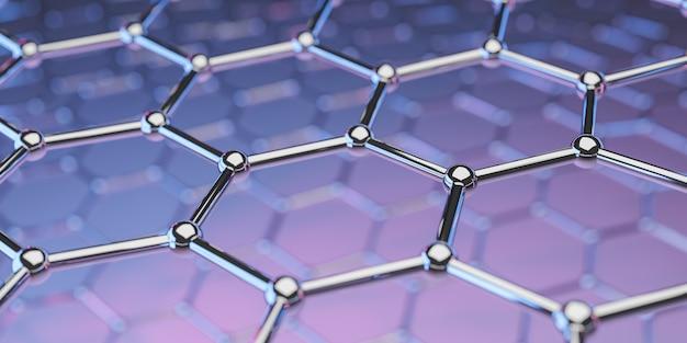 Ansicht einer molekularen nanotechnologiestruktur des graphens auf einem purpurroten-rosa hintergrund - wiedergabe 3d