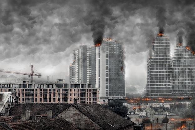 Ansicht einer postapokalyptischen stadt
