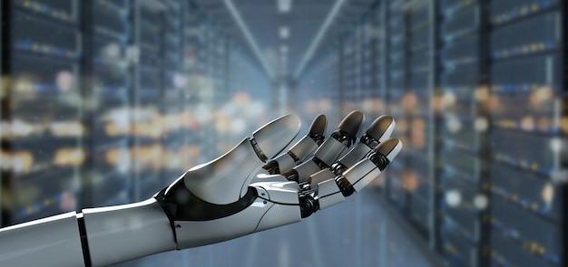 Ansicht eines roboter-handcyborgs - wiedergabe 3d