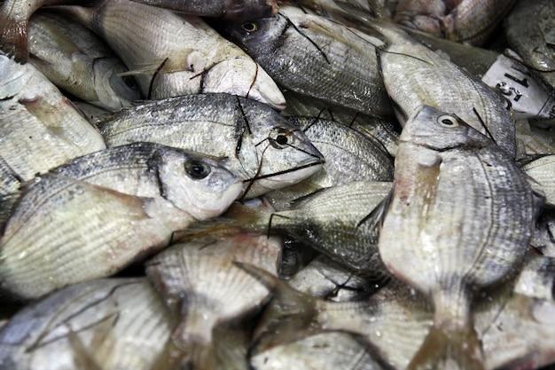 Ansicht eines stapels frischer goldbrachfische am verkauf auf dem markt.