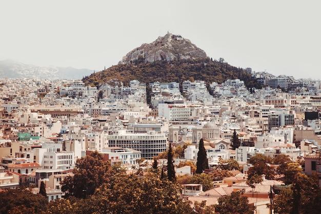Ansicht von athen und berg lycabettus, griechenland