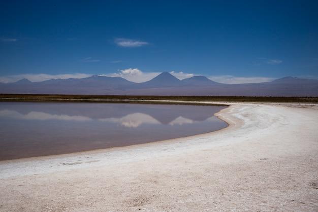 Ansicht von cejar lagoon, los-flamenco-nationales reserve, san pedro de atacama, el loa-provinz, antofag