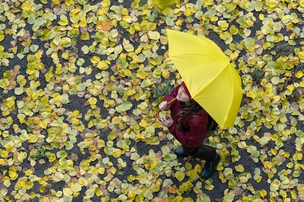Ansicht von oben. frau unter großem gelben regenschirm vor dem hintergrund gelber gefallener blätter. herbst