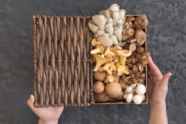 Ansicht von oben genanntem des weidenkorbes mit waldseltenen köstlichen essbaren pilzen