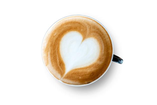 Ansicht von oben. weiße tasse latte-kaffee isoliert auf weißem hintergrund. datei enthält mit beschneidungspfad so einfach zu arbeiten.