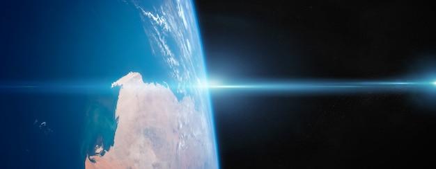 Ansicht von planet erde nah oben mit atmosphäre während elemente eines sonnenaufgangs dieses bildes geliefert von der nasa