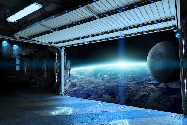 Ansicht von planet erde von einer pendellaufbahn