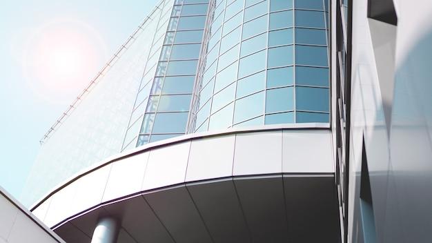 Ansicht von unten auf moderne wolkenkratzer im geschäftsviertel vor blauem himmel - nahaufnahmehintergrund