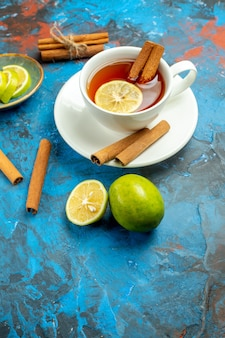 Ansicht von unten eine tasse tee mit zitrone und zimt auf blau-roter oberfläche