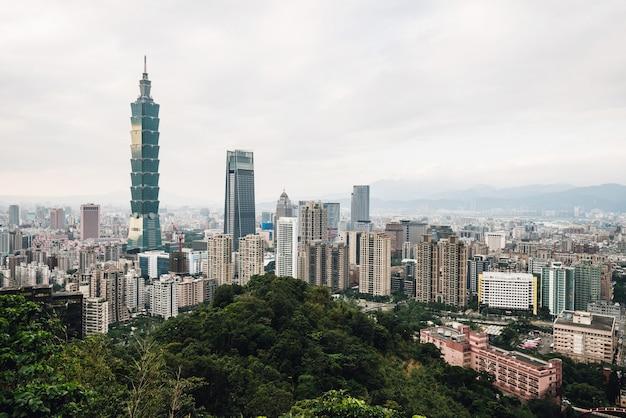Antenne über im stadtzentrum gelegenem taipeh mit wolkenkratzer taipehs 101 in der dämmerung vom xiangshan-elefantenberg am abend.