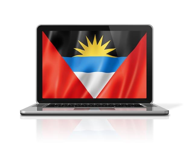 Antigua und barbuda-flag auf laptop-bildschirm isoliert auf weiss. 3d-darstellung rendern.