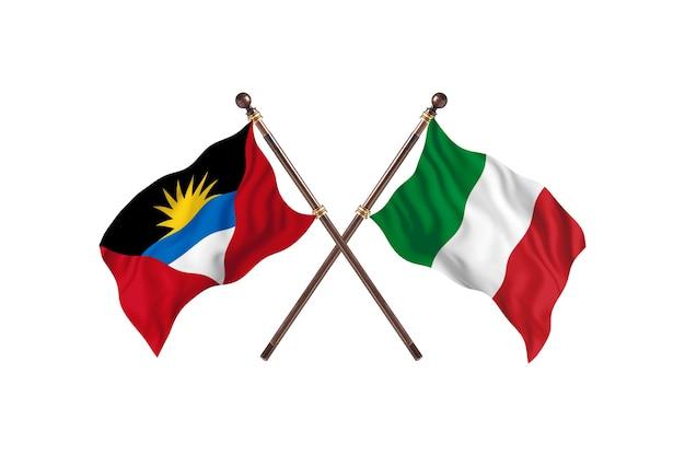 Antigua und barbuda gegen italien zwei länderflaggen hintergrund