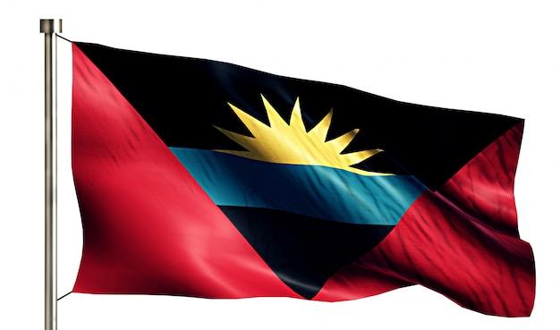 Antigua und barbuda nationalflagge isoliert 3d weißen hintergrund