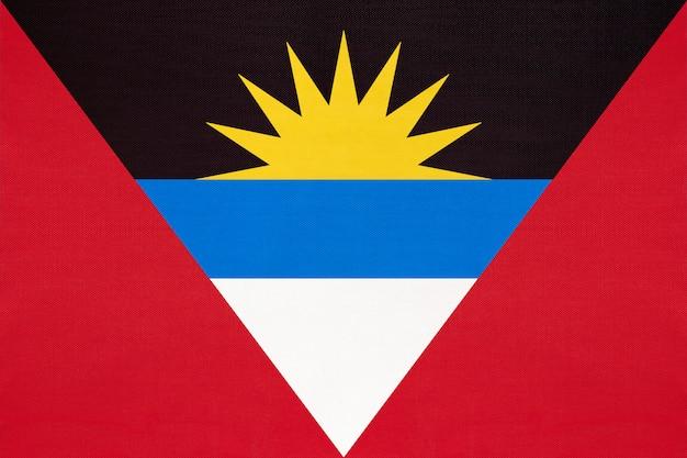 Antigua- und barbuda-nationalgewebefahne, textilhintergrund.