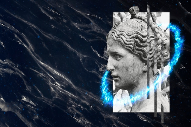 Antike griechische frauenkopfskulptur