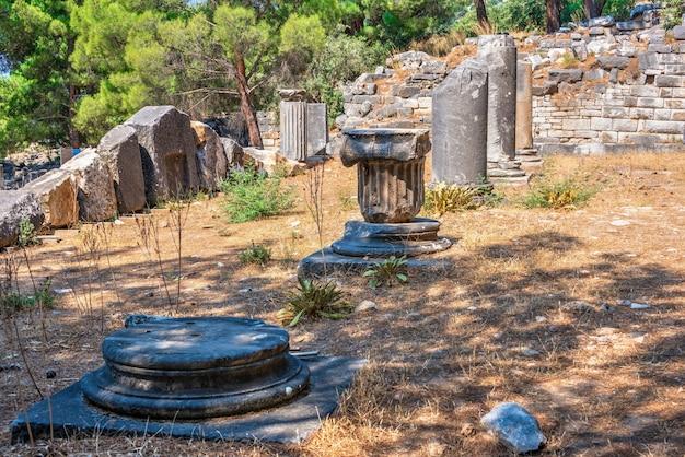 Antike griechische stadt priene an der westküste der türkei