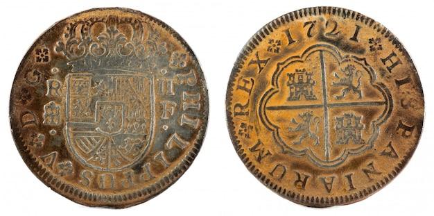 Antike spanische silbermünze des königs felipe v.