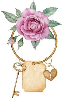 Antiker goldener schlüssel, hängendes herzschloss mit rosa rose, grüne blätter lokalisiert