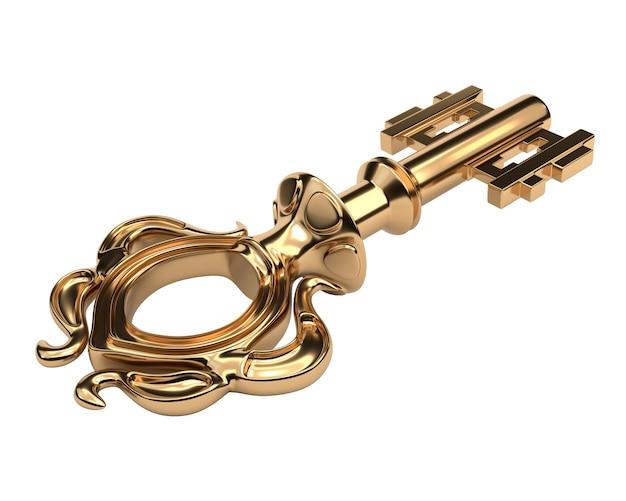 Antiker goldener schlüssel lokalisiert auf weißem hintergrund.