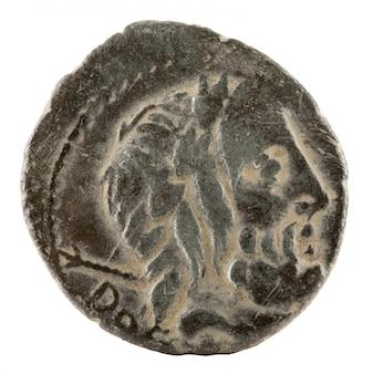 Antiker römischer silberdenar der familie rubria.