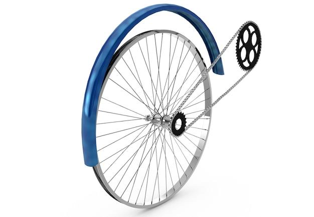 Antrieb, der flügel und die kette eines fahrrads auf weißem hintergrund 3d-rendering