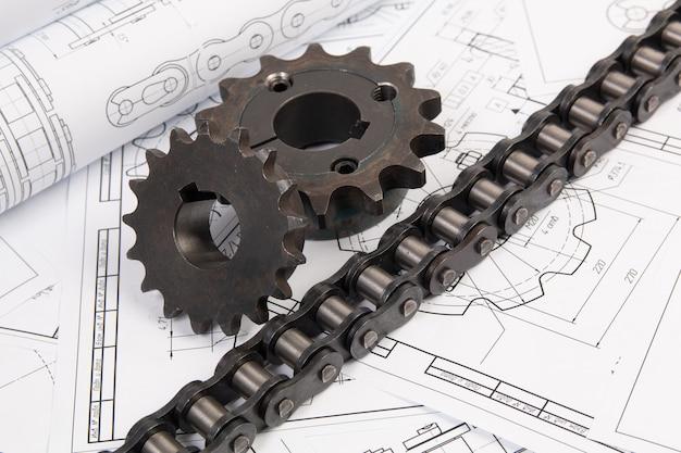 Antrieb der industriellen rollenkette und des kettenrads auf drucktechnischen zeichnungen