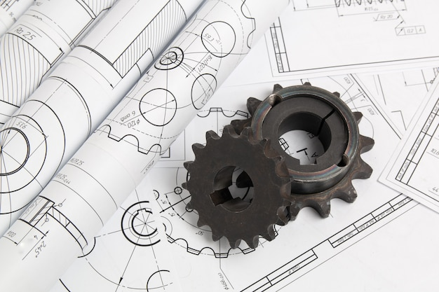 Antriebskettenräder und konstruktionszeichnungen von industriellen teilen und mechanismen