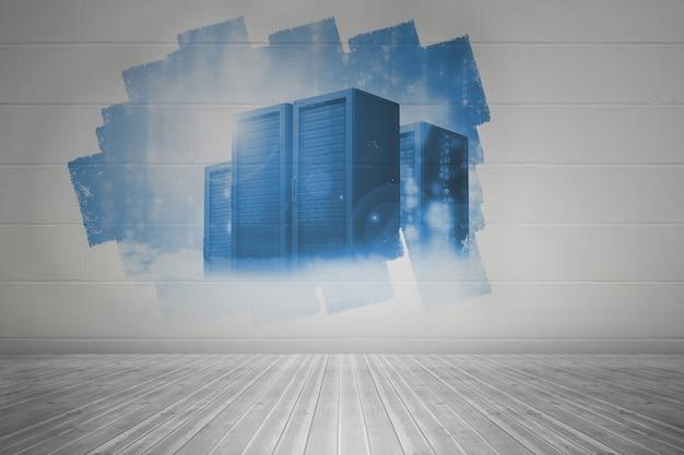 Anzeige an der wand zeigt server tower