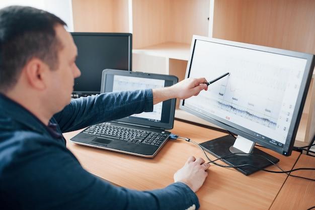 Anzeige der kurve der spitze im diagramm. der polygraph-prüfer arbeitet im büro mit der ausrüstung seines lügendetektors