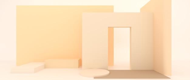 Anzeige zum anzeigen und platzieren der geometrischen form von produkten auf dem hintergrund