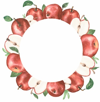 Apfel clipart, aquarell roter apfel kranz, bio botanische obst clipart, gartenernte, hochzeitseinladung, textildruck, logo-design