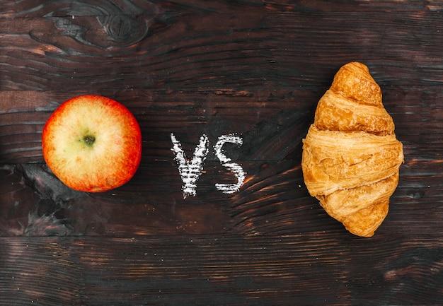 Apfel gegen croissant