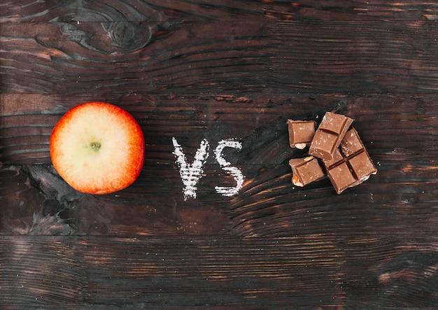 Apfel gegen schokolade