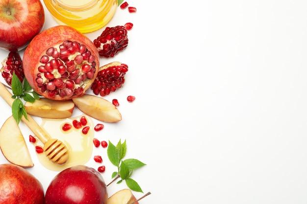 Apfel, honig und granatapfel