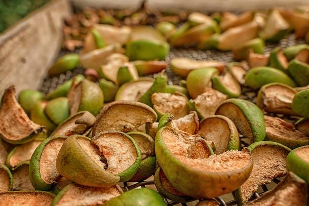 Apfel- und birnenscheiben werden auf einem gitter getrocknet herstellung von trockenfrüchten ernte